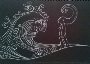 Person and wave